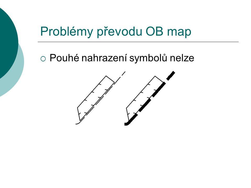 Problémy převodu OB map  Pouhé nahrazení symbolů nelze