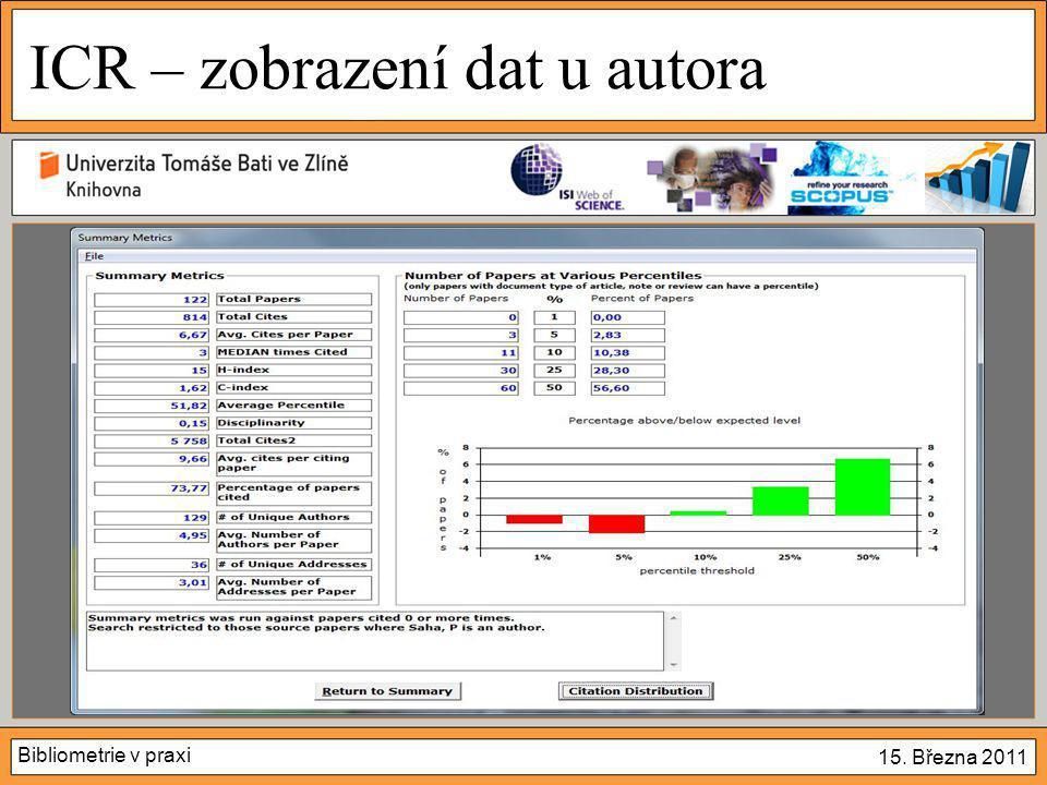 Bibliometrie v praxi 15. Března 2011 ICR – zobrazení dat u autora