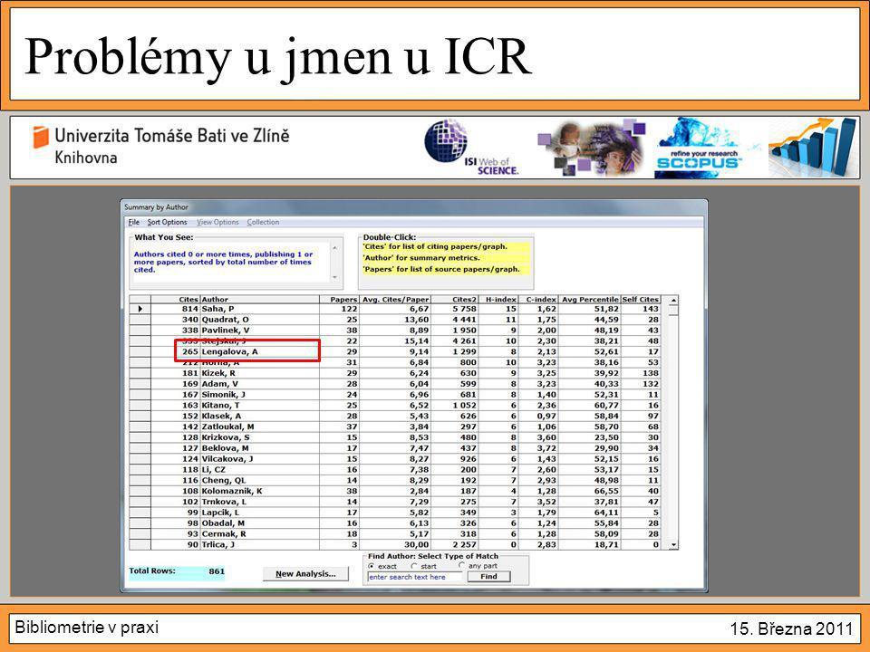 Bibliometrie v praxi 15. Března 2011 Problémy u jmen u ICR