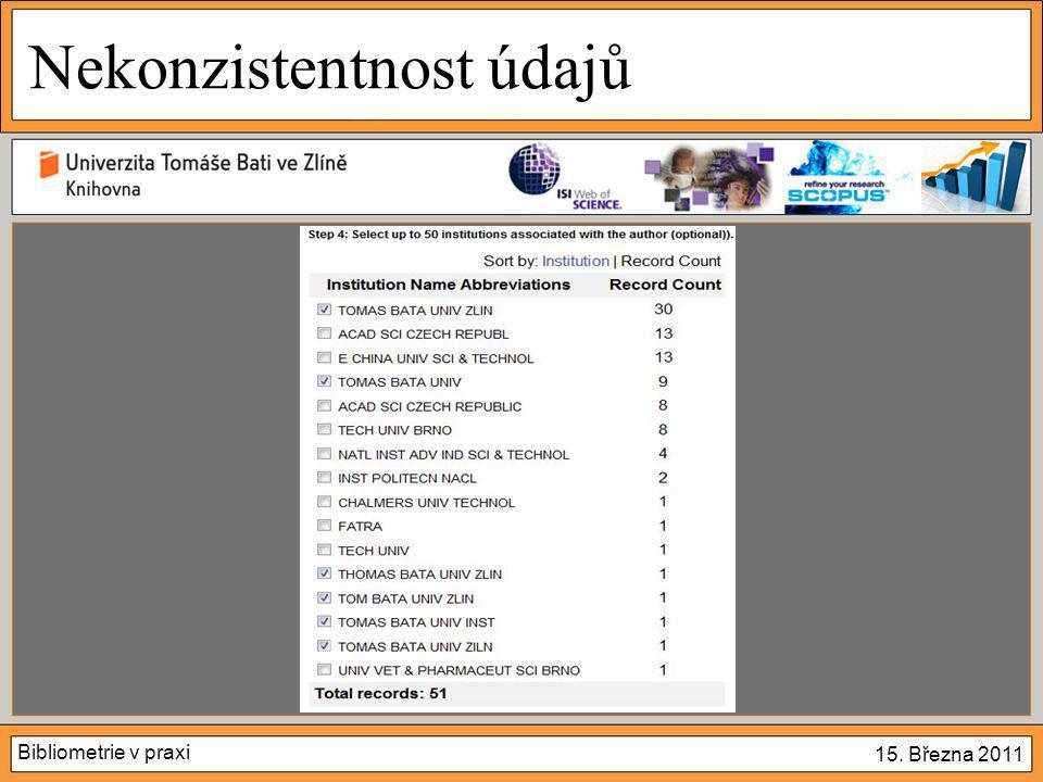 Bibliometrie v praxi 15. Března 2011 Nekonzistentnost údajů