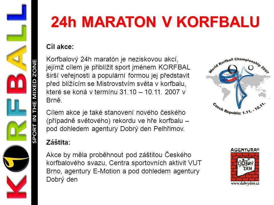 24h MARATON V KORFBALU Cíl akce: Korfbalový 24h maratón je neziskovou akcí, jejímž cílem je přiblížit sport jménem KORFBAL širší veřejnosti a populární formou jej představit před blížícím se Mistrovstvím světa v korfbalu, které se koná v termínu 31.10 – 10.11.