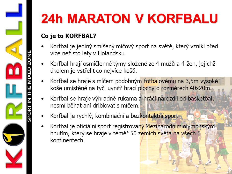 24h MARATON V KORFBALU Co je to KORFBAL? •Korfbal je jediný smíšený míčový sport na světě, který vznikl před více než sto lety v Holandsku. •Korfbal h