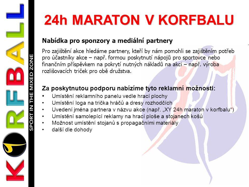 24h MARATON V KORFBALU Nabídka pro sponzory a mediální partnery Pro zajištění akce hledáme partnery, kteří by nám pomohli se zajištěním potřeb pro účastníky akce – např.