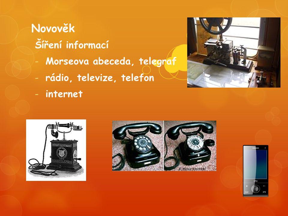 Novověk Šíření informací -Morseova abeceda, telegraf -rádio, televize, telefon -internet