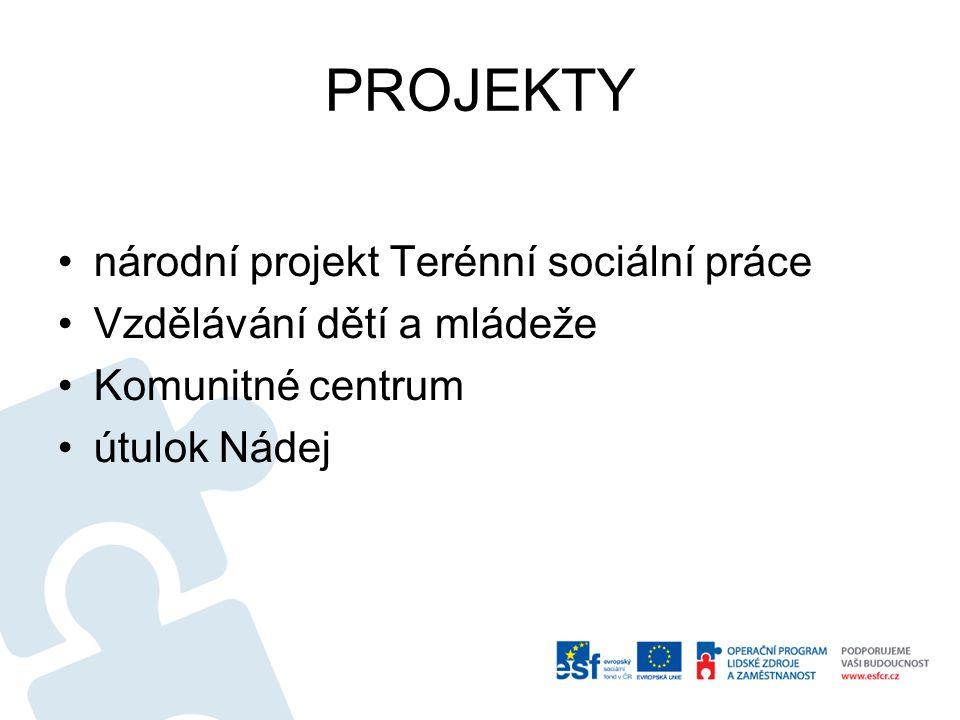 PROJEKTY •národní projekt Terénní sociální práce •Vzdělávání dětí a mládeže •Komunitné centrum •útulok Nádej