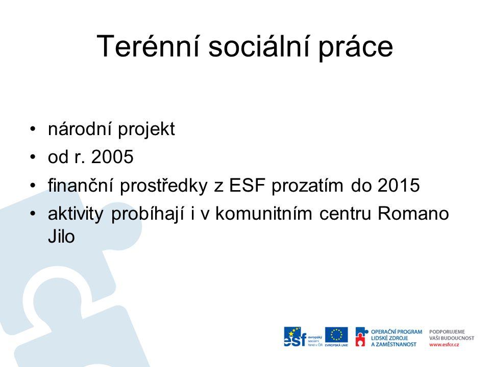 Terénní sociální práce •národní projekt •od r. 2005 •finanční prostředky z ESF prozatím do 2015 •aktivity probíhají i v komunitním centru Romano Jilo