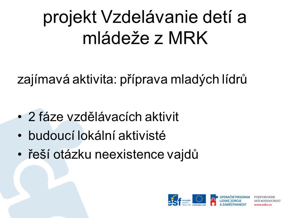 projekt Vzdelávanie detí a mládeže z MRK zajímavá aktivita: příprava mladých lídrů •2 fáze vzdělávacích aktivit •budoucí lokální aktivisté •řeší otázk