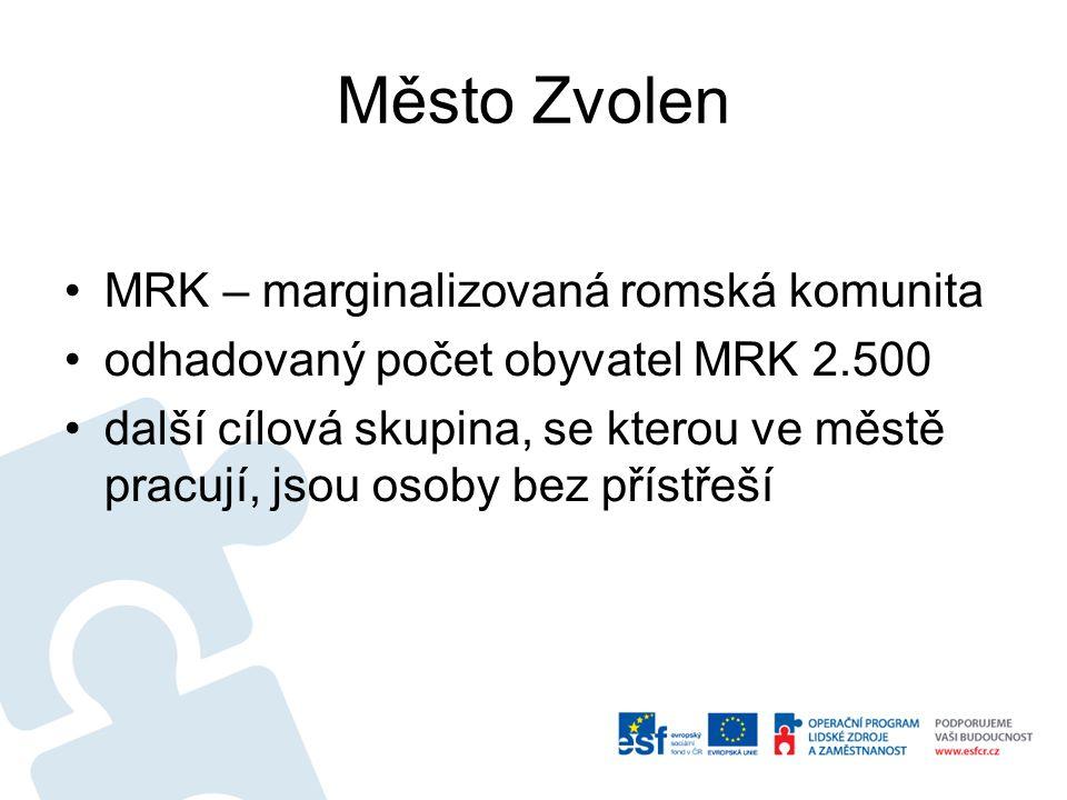 Město Zvolen •MRK – marginalizovaná romská komunita •odhadovaný počet obyvatel MRK 2.500 •další cílová skupina, se kterou ve městě pracují, jsou osoby