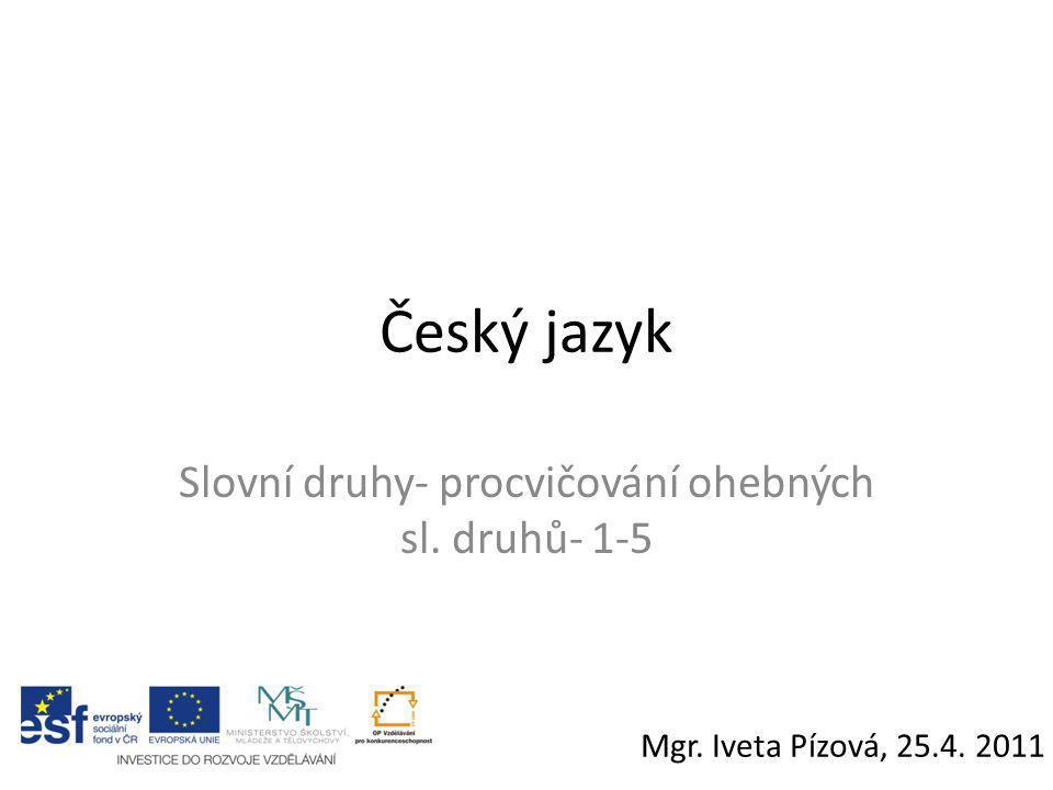 Český jazyk Slovní druhy- procvičování ohebných sl. druhů- 1-5 Mgr. Iveta Pízová, 25.4. 2011