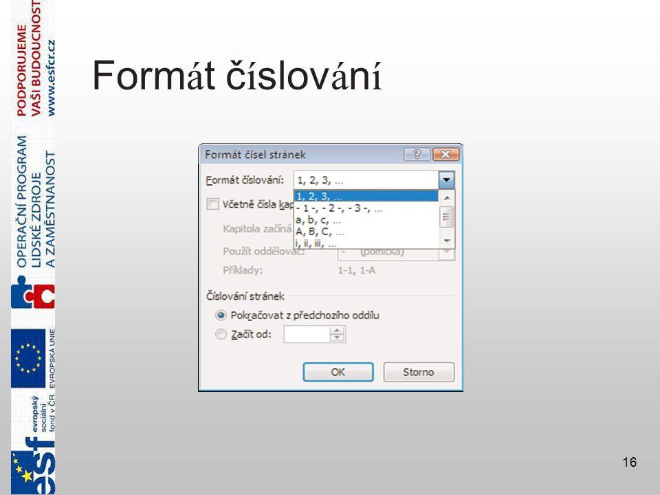 16 Form á t č í slov á n í