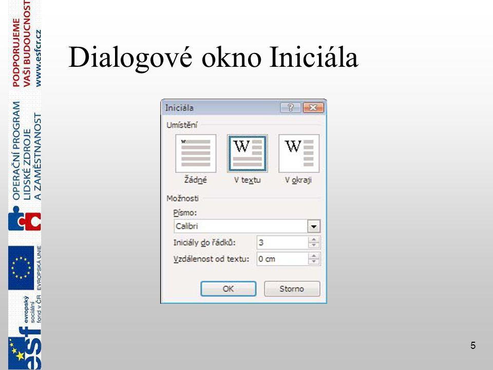 5 Dialogové okno Iniciála