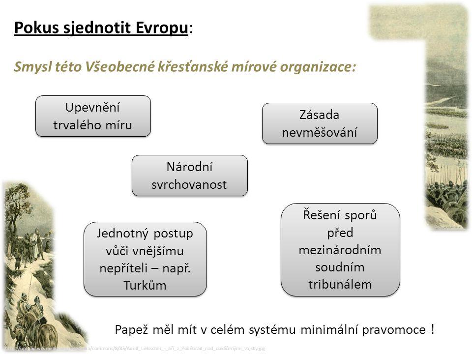 http://upload.wikimedia.org/wikipedia/commons/8/85/Adolf_Liebscher_-_Jiří_z_Poděbrad_nad_obklíčenými_vojsky.jpg Pokus sjednotit Evropu: Dvojí odezva na Jiříkův návrh: Pro: příznivý ohlas nalezl návrh ve Francii, u německých knížat a v Polsku.