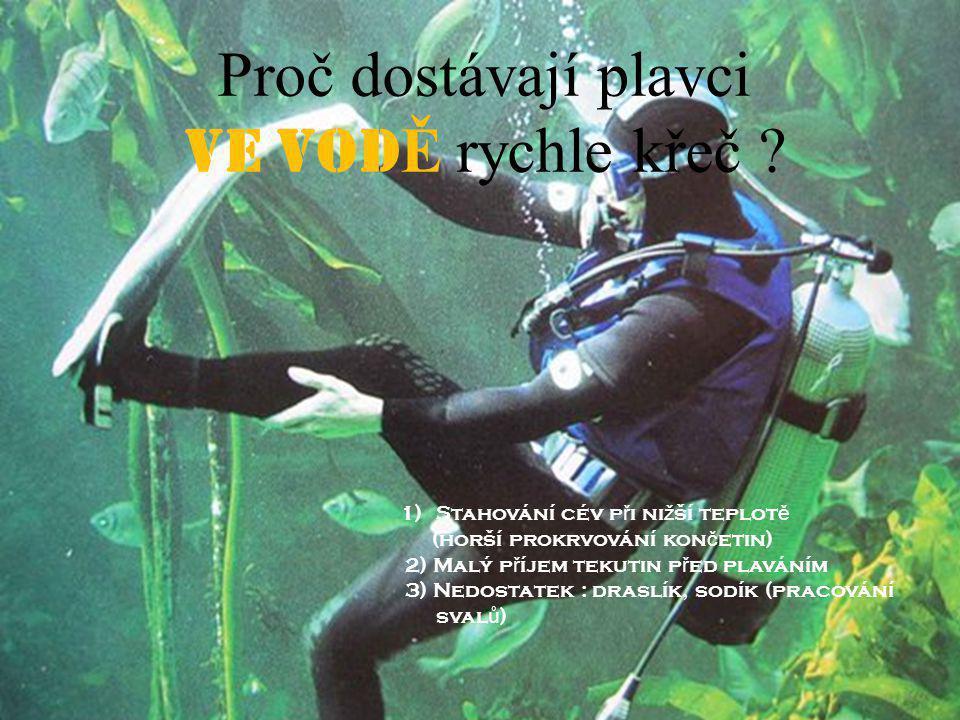 Proč dostávají plavci VE VOD Ě rychle křeč .