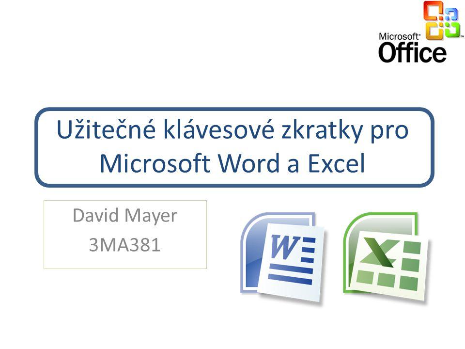 Užitečné klávesové zkratky pro Microsoft Word a Excel David Mayer 3MA381