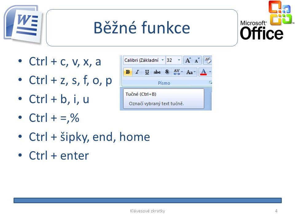 Běžné funkce • Ctrl + c, v, x, a • Ctrl + z, s, f, o, p • Ctrl + b, i, u • Ctrl + =,% • Ctrl + šipky, end, home • Ctrl + enter Klávesové zkratky4