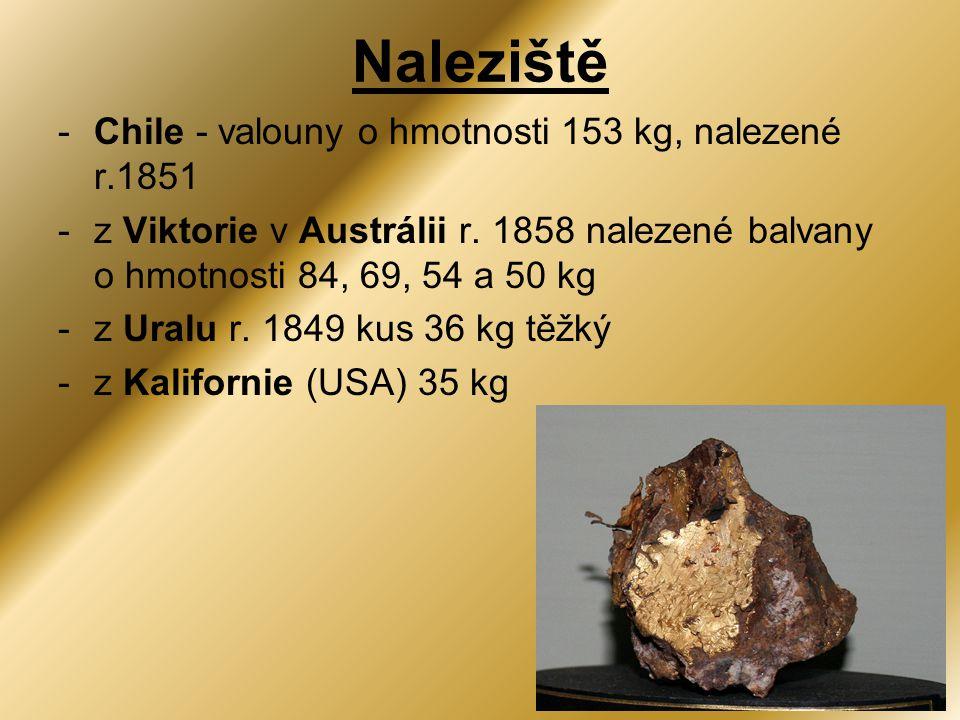 -Chile - valouny o hmotnosti 153 kg, nalezené r.1851 -z Viktorie v Austrálii r. 1858 nalezené balvany o hmotnosti 84, 69, 54 a 50 kg -z Uralu r. 1849