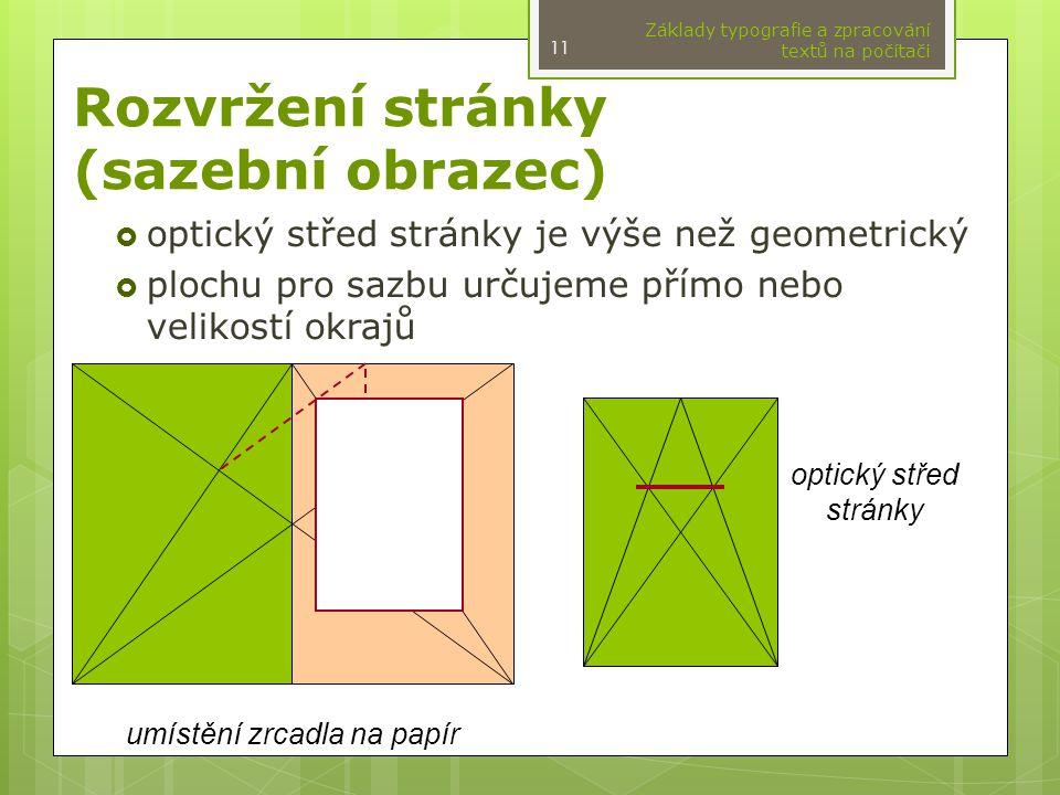Rozvržení stránky (sazební obrazec)  optický střed stránky je výše než geometrický  plochu pro sazbu určujeme přímo nebo velikostí okrajů Základy typografie a zpracování textů na počítači 11 optický střed stránky umístění zrcadla na papír