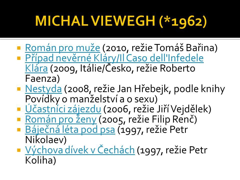  Román pro muže (2010, režie Tomáš Bařina) Román pro muže  Případ nevěrné Kláry/Il Caso dell'Infedele Klára (2009, Itálie/Česko, režie Roberto Faenz