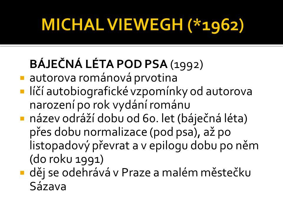 POUŽITÁ LITERATURA: http://www.ceskatelevize.cz/porady/10169663406-ctenarsky-denik/308292320020019- ctenarsky-denik-michal-viewegh-bajecna-leta-pod-psa/ http://www.viewegh.cz/filmy.php http://cs.wikipedia.org/wiki/Michal_Viewegh http://www.cesky-jazyk.cz/ctenarsky-denik/michal-viewegh/bajecna-leta-pod-psa.html http://www.cesky-jazyk.cz/ctenarsky-denik/michal-viewegh/bajecna-leta-pod-psa- 11.html PROKOP, V.: Přehled české literatury 20.