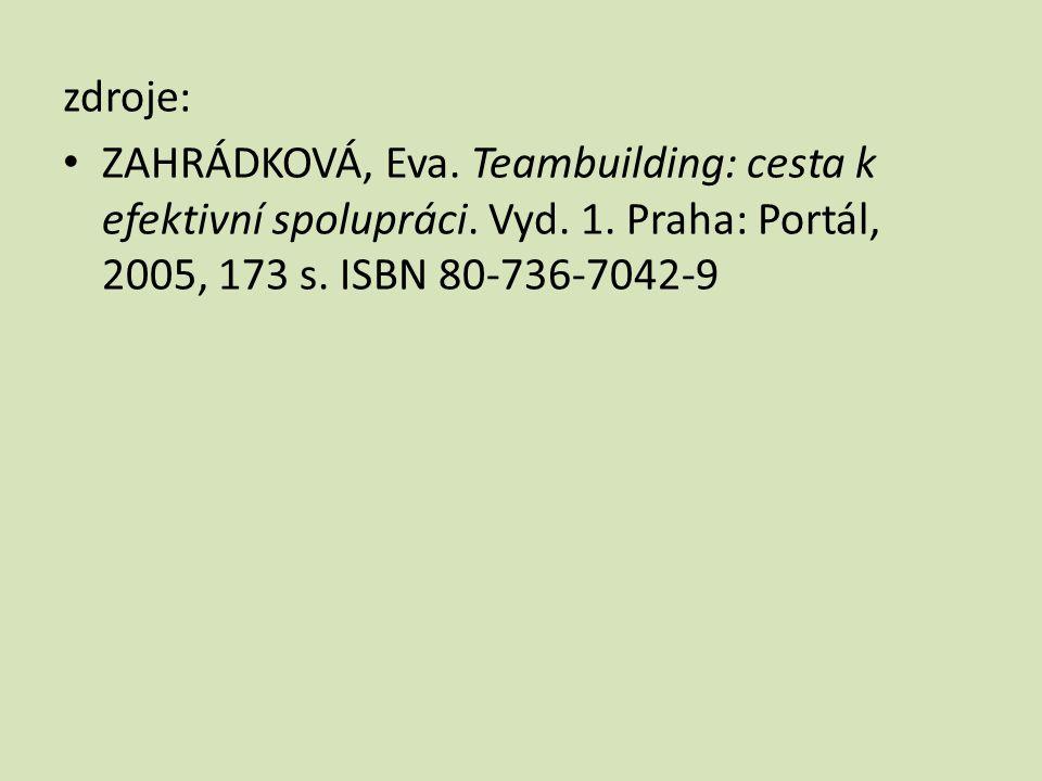 zdroje: • ZAHRÁDKOVÁ, Eva. Teambuilding: cesta k efektivní spolupráci. Vyd. 1. Praha: Portál, 2005, 173 s. ISBN 80-736-7042-9
