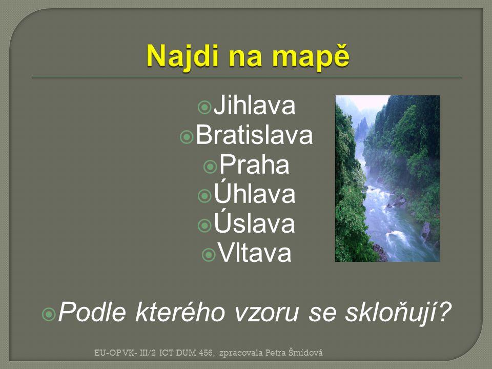  Jihlava  Bratislava  Praha  Úhlava  Úslava  Vltava  Podle kterého vzoru se skloňují.