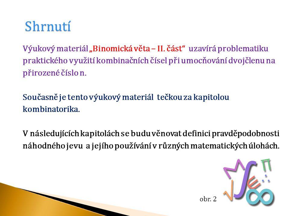 """Výukový materiál """"Binomická věta – II."""