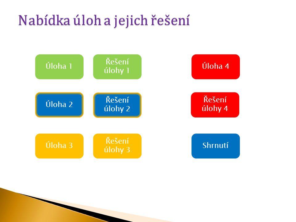 Úloha 1 Řešení úlohy 3 Úloha 3 Úloha 2 Řešení úlohy 2 Řešení úlohy 4 Řešení úlohy 1 Úloha 4 Shrnutí