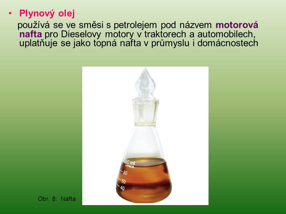 •Plynový olej používá se ve směsi s petrolejem pod názvem motorová nafta pro Dieselovy motory v traktorech a automobilech, uplatňuje se jako topná naf