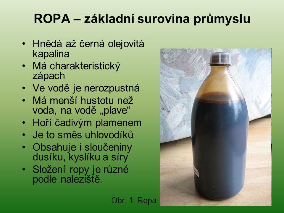 ROPA – základní surovina průmyslu •Hnědá až černá olejovitá kapalina •Má charakteristický zápach •Ve vodě je nerozpustná •Má menší hustotu než voda, n