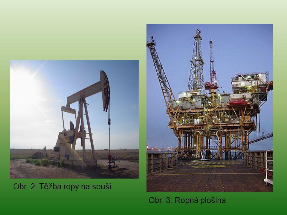Obr. 3: Ropná plošina Obr. 2: Těžba ropy na souši