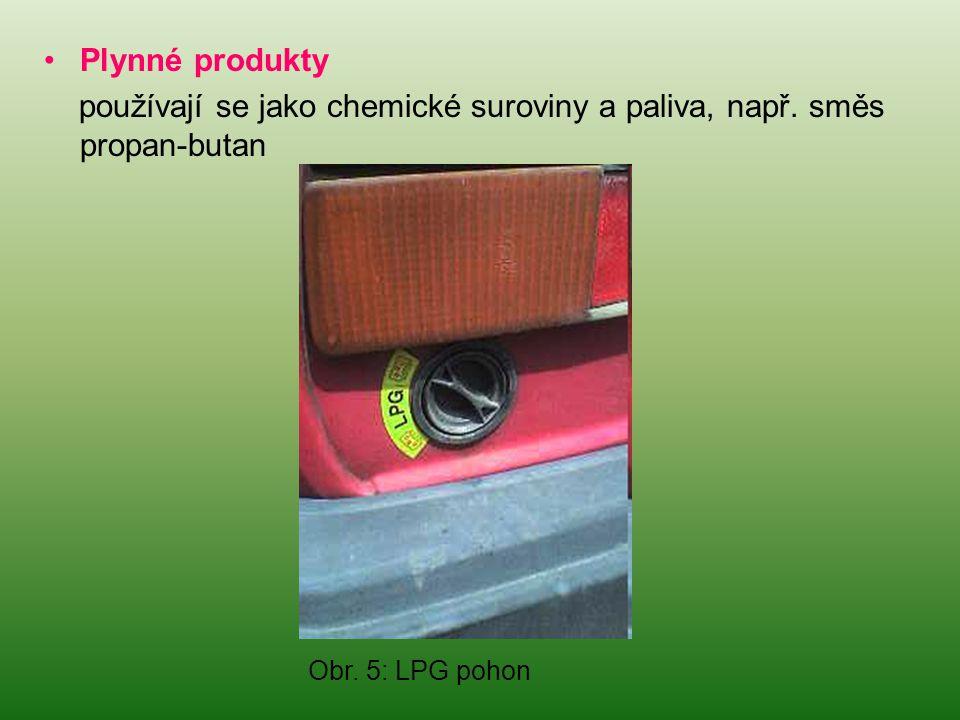 •Plynné produkty používají se jako chemické suroviny a paliva, např. směs propan-butan Obr. 5: LPG pohon