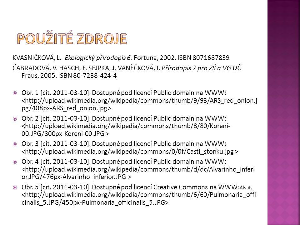 KVASNIČKOVÁ, L. Ekologický přírodopis 6. Fortuna, 2002. ISBN 8071687839 ČABRADOVÁ, V. HASCH, F. SEJPKA, J. VANĚČKOVÁ, I. Přírodopis 7 pro ZŠ a VG UČ.