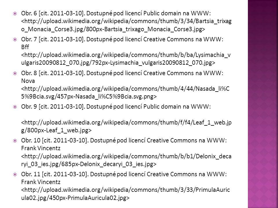  Obr. 6 [cit. 2011-03-10]. Dostupné pod licencí Public domain na WWW:  Obr. 7 [cit. 2011-03-10]. Dostupné pod licencí Creative Commons na WWW: Bff 
