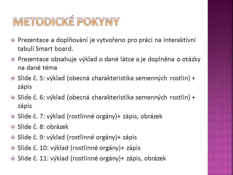 Slide č.12: výklad (rostlinné orgány)+ zápis, obrázek  Slide č.