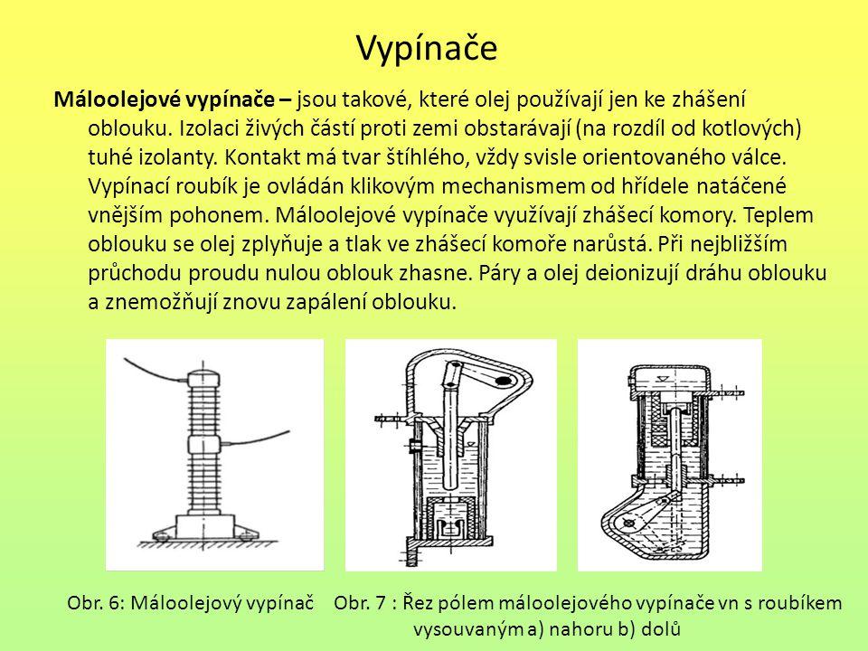 Vypínače Máloolejové vypínače – jsou takové, které olej používají jen ke zhášení oblouku.