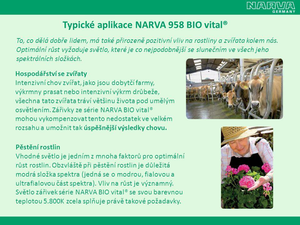 Typické aplikace NARVA 958 BIO vital® To, co dělá dobře lidem, má také přirozeně pozitivní vliv na rostliny a zvířata kolem nás. Optimální růst vyžadu