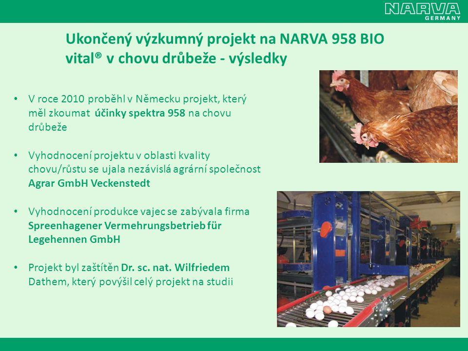 Ukončený výzkumný projekt na NARVA 958 BIO vital® v chovu drůbeže - výsledky • V roce 2010 proběhl v Německu projekt, který měl zkoumat účinky spektra