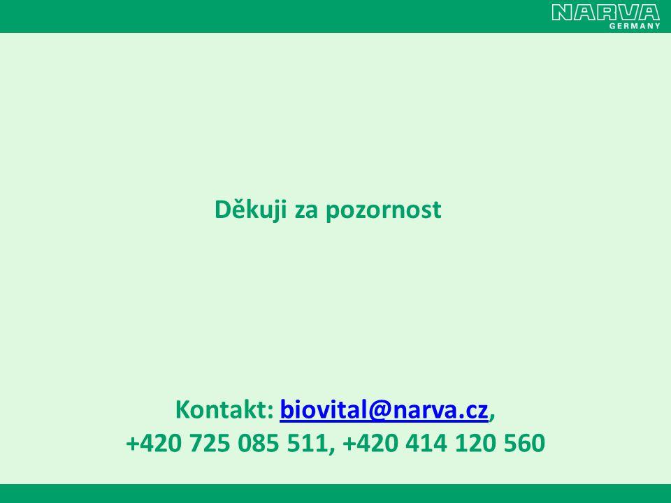 Děkuji za pozornost Kontakt: biovital@narva.cz,biovital@narva.cz +420 725 085 511, +420 414 120 560