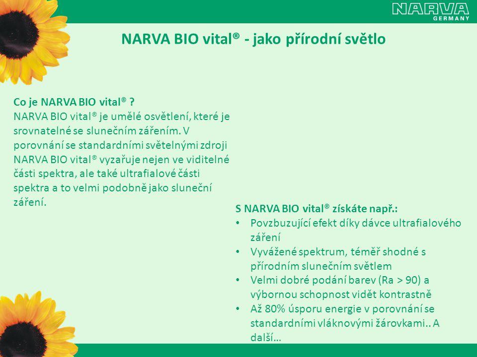 O spektru NARVA 958 BIO vital® Viditelná složka UVA + UVB složka Vynikající podání barev (CRI > 90) Barevná teplota 5800K se podobá slunečnímu světlu Viditelné světlo: 400-800nm (ve vakuu)
