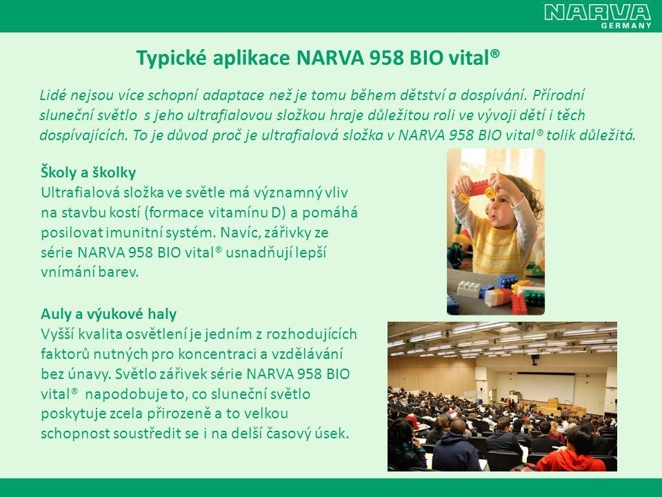 Typické aplikace NARVA 958 BIO vital® Lidé nejsou více schopní adaptace než je tomu během dětství a dospívání. Přírodní sluneční světlo s jeho ultrafi