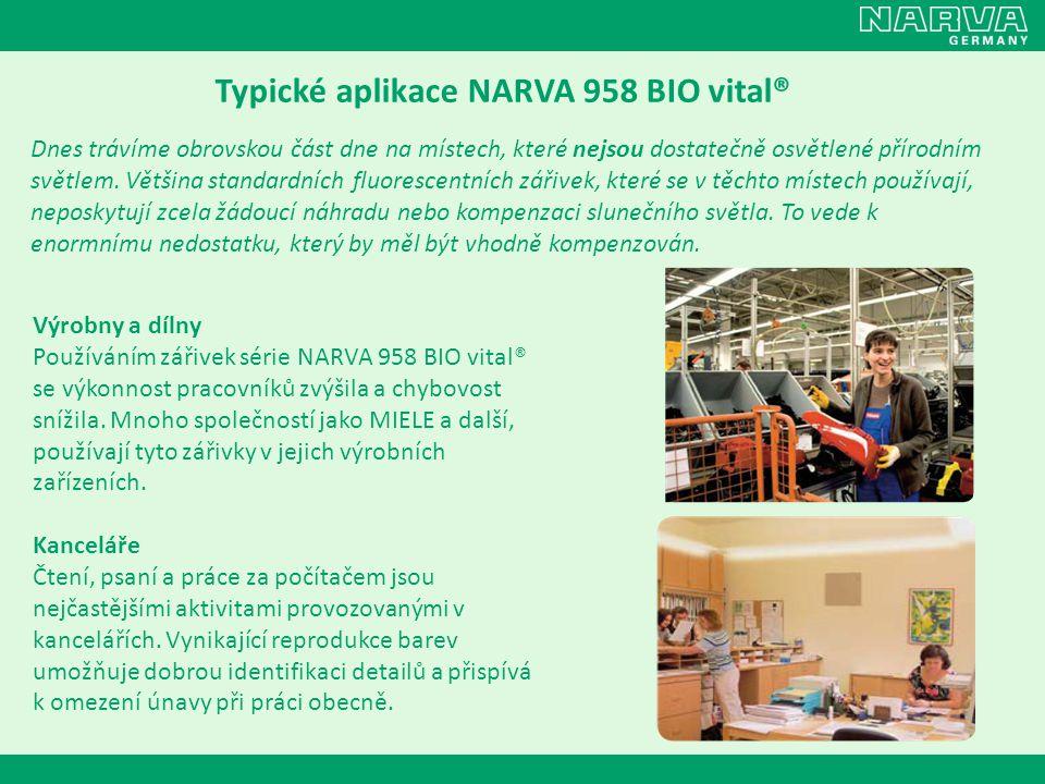 Typické aplikace NARVA 958 BIO vital® Dnes trávíme obrovskou část dne na místech, které nejsou dostatečně osvětlené přírodním světlem. Většina standar