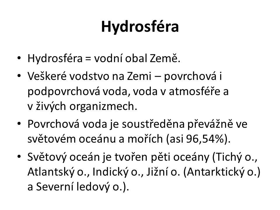 Hydrosféra • Hydrosféra = vodní obal Země. • Veškeré vodstvo na Zemi – povrchová i podpovrchová voda, voda v atmosféře a v živých organizmech. • Povrc