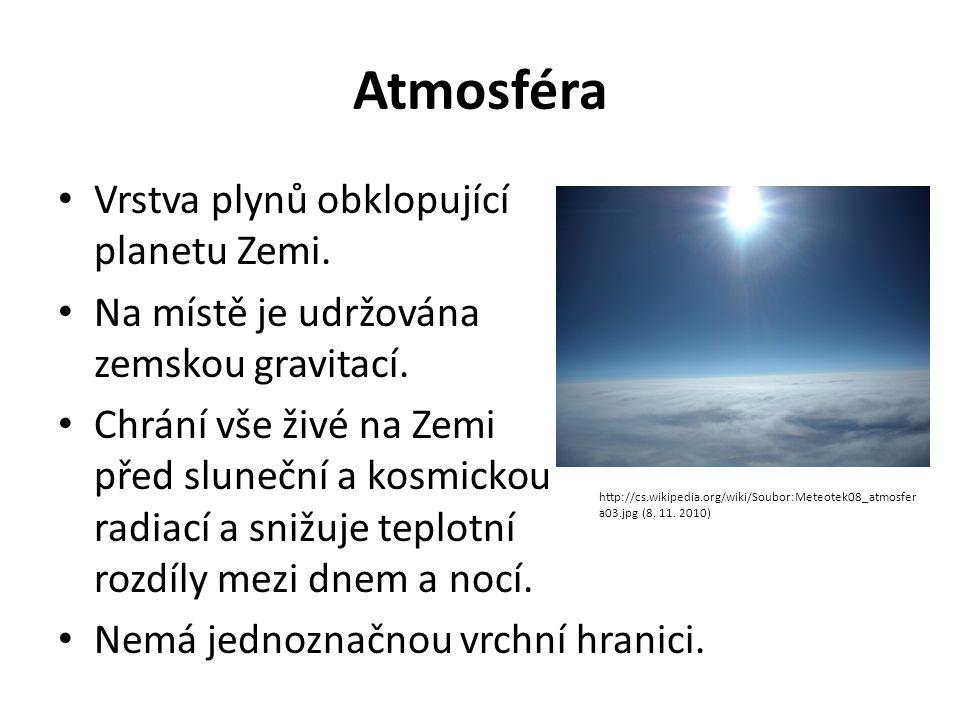 Atmosféra • Vrstva plynů obklopující planetu Zemi. • Na místě je udržována zemskou gravitací. • Chrání vše živé na Zemi před sluneční a kosmickou radi