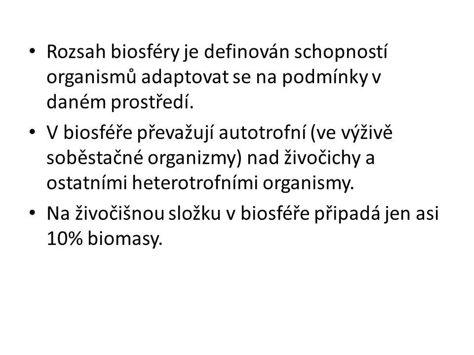 • Rozsah biosféry je definován schopností organismů adaptovat se na podmínky v daném prostředí. • V biosféře převažují autotrofní (ve výživě soběstačn