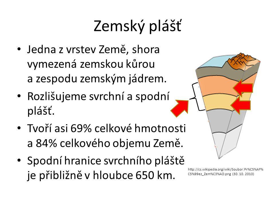 Zemský plášť • Jedna z vrstev Země, shora vymezená zemskou kůrou a zespodu zemským jádrem. • Rozlišujeme svrchní a spodní plášť. • Tvoří asi 69% celko