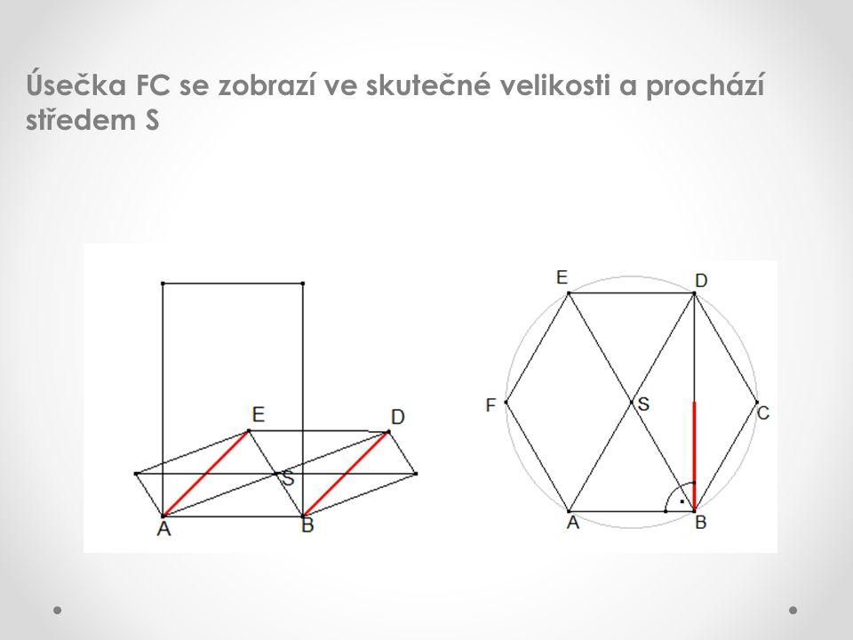 Úsečka FC se zobrazí ve skutečné velikosti a prochází středem S