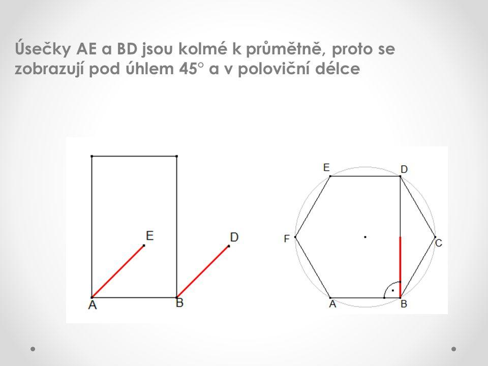 Úsečky AE a BD jsou kolmé k průmětně, proto se zobrazují pod úhlem 45° a v poloviční délce
