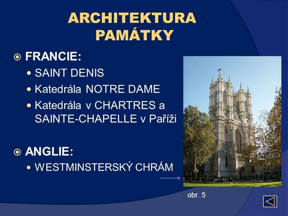 ARCHITEKTURA PAMÁTKY  FRANCIE:  SAINT DENIS  Katedrála NOTRE DAME  Katedrála v CHARTRES a SAINTE-CHAPELLE v Paříži  ANGLIE:  WESTMINSTERSKÝ CHRÁ