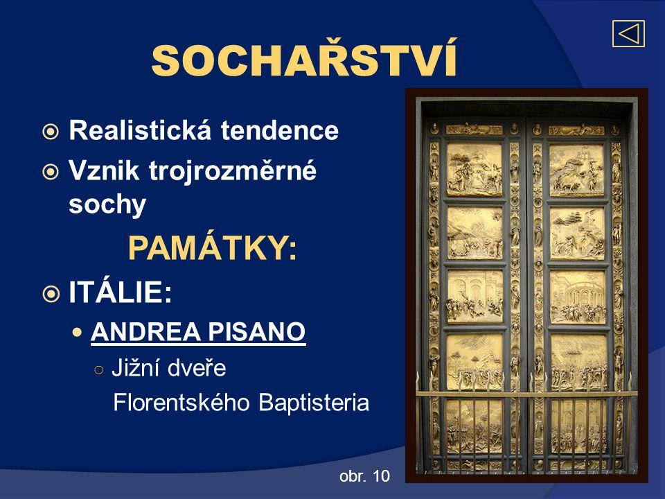 SOCHAŘSTVÍ  Realistická tendence  Vznik trojrozměrné sochy PAMÁTKY:  ITÁLIE:  ANDREA PISANO ○ Jižní dveře Florentského Baptisteria obr. 10
