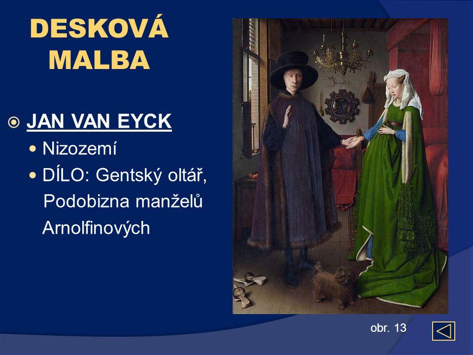 DESKOVÁ MALBA  JAN VAN EYCK  Nizozemí  DÍLO: Gentský oltář, Podobizna manželů Arnolfinových obr. 13